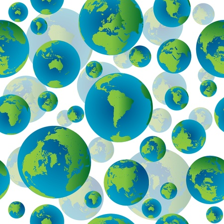 Abstract seamless pattern with Earth globes, no transparency Stock Photo - 8369914