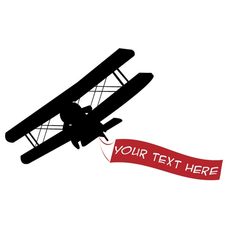 Black airplane silhouette with red banner photo