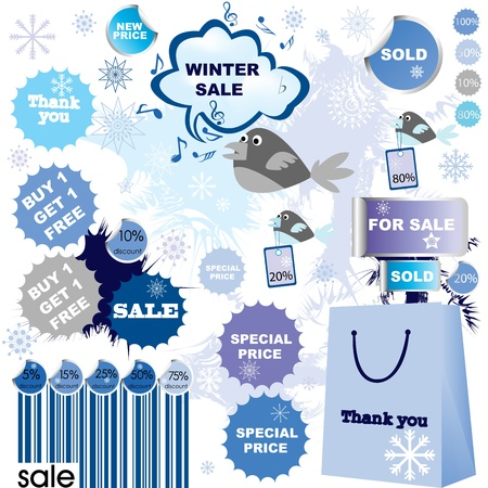 Winter sale-set of stickers and labels photo