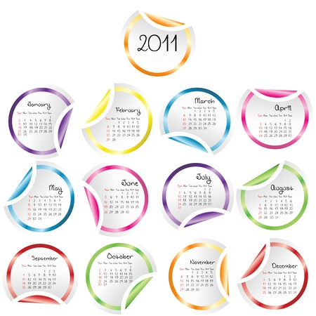 2011 Calendar with curled stickers corners Stock Photo - 8405815