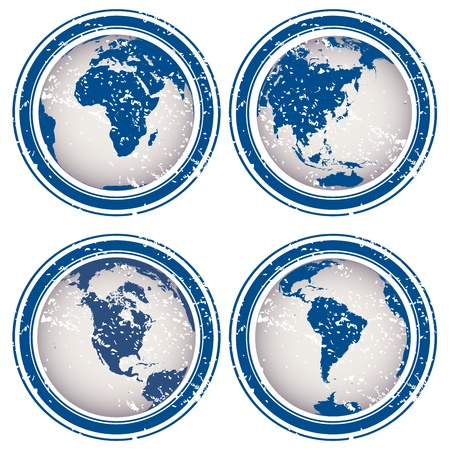 Blue rubber stamps with Earth globes Stock Photo - 8405823