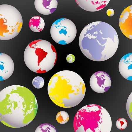 Seamless with colored Earth globes Stock Photo - 8405818