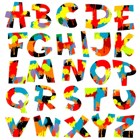 Salpicaduras de letras del alfabeto con pintura Foto de archivo - 8435257