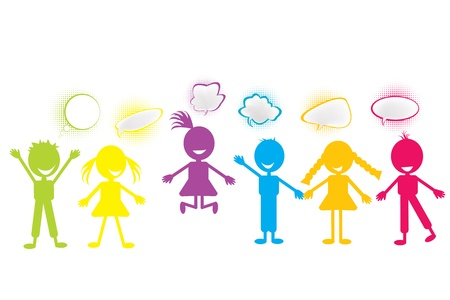 Colored stylized children with chat bubbles photo