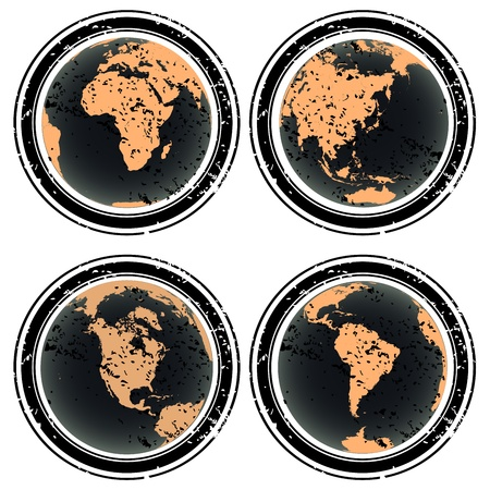 Rubber stamps with Earth globes Stock Photo - 8546164