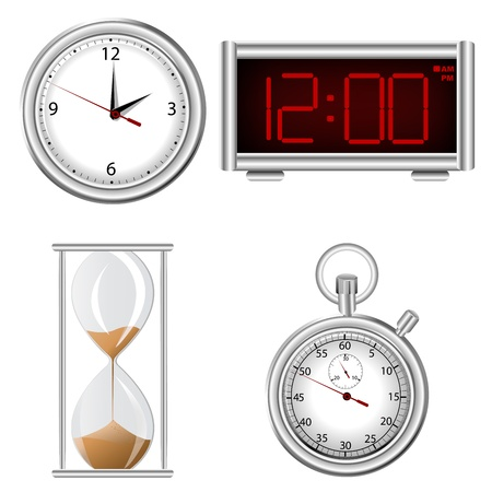 Set of time measurement instruments icons photo