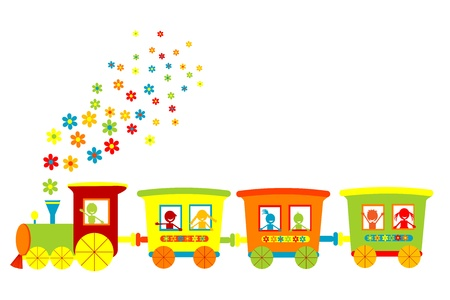 the locomotive isolated: Toy train with happy kids Stock Photo