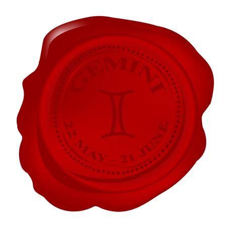 Wax seal with Gemini Zodiac symbol photo