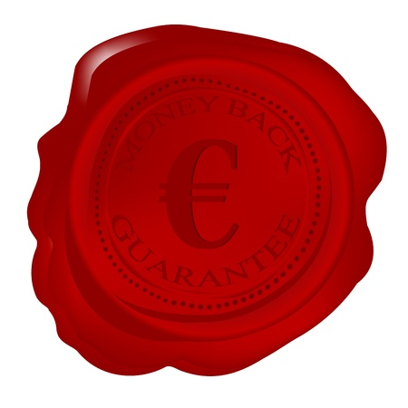 Wax seal with money back guarantee and euro photo