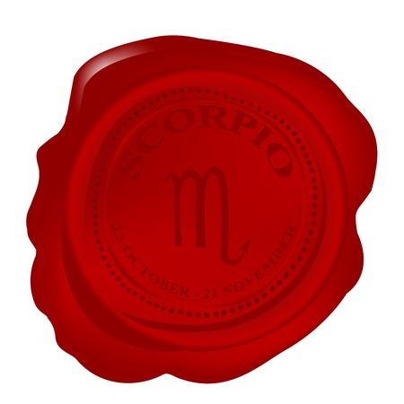 Wax seal with Scorpio Zodiac symbol photo