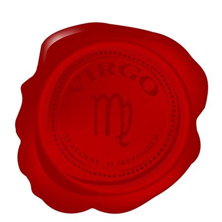 Wax seal with virgo zodiac symbol photo