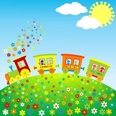 tren caricatura: Tren de juguete color con los niños felices