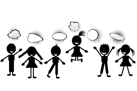 Kids with speech bubbles photo