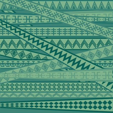 Green background with African geometric ornaments photo