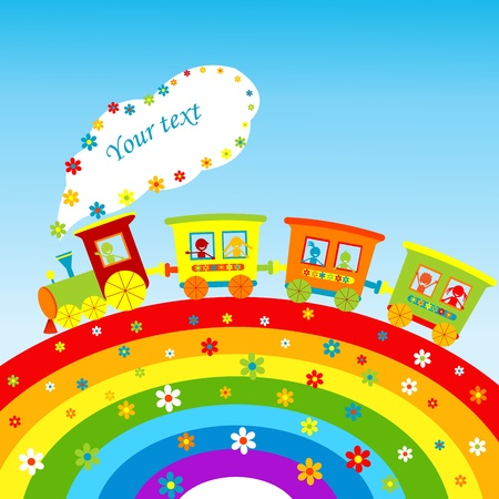 tren caricatura: Ilustración con el tren de dibujos animados, arco iris y lugar para el texto
