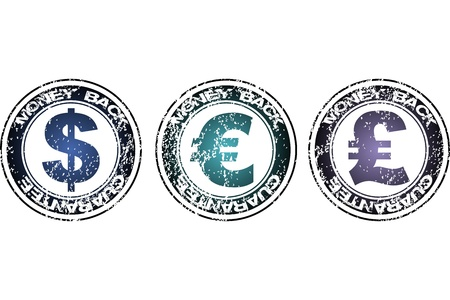 Stamps with Money back guarantee with dollar, euro and pound Stock Photo - 8610896
