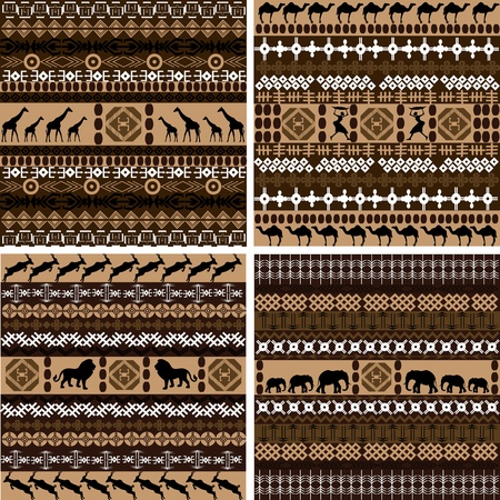Four backgrounds with African motifs and animals photo