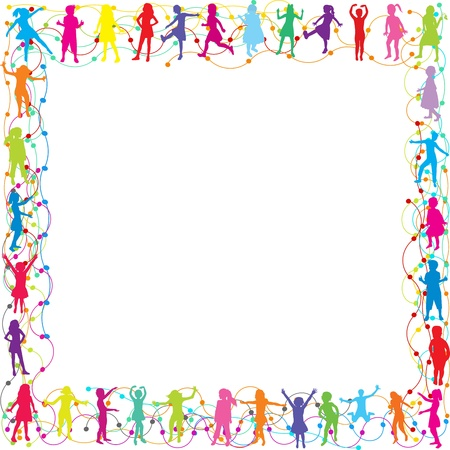 many coloured: Frame with hand drawn children silhouettes