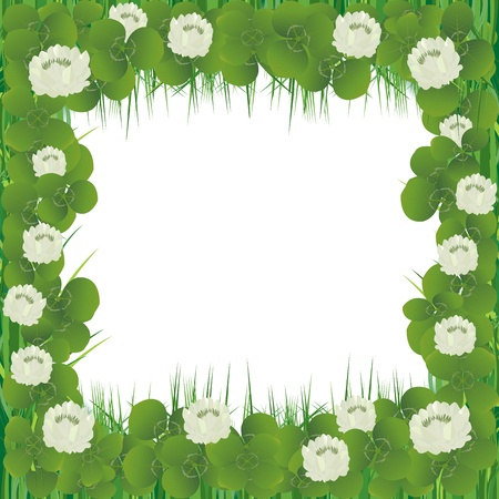 Realistic clover flowers frame for St. Patrick's Day Stock Photo - 8639504