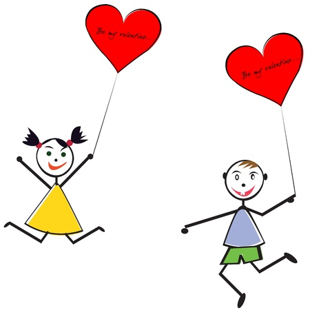 baloon: Boy and girl with heart baloons, Valentines Day greeting card