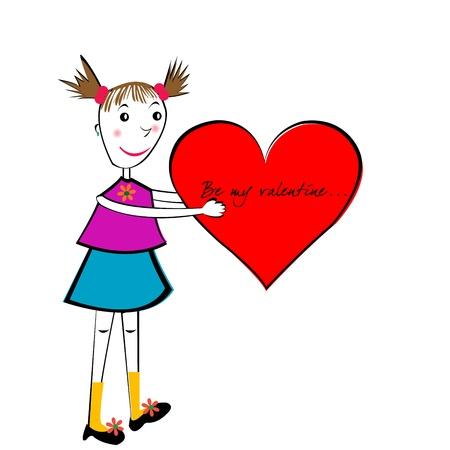 dat: Carta di cartone animato di Valentino Dat, ragazza a mano con un grande cuore