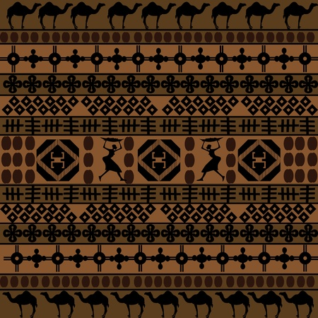 Background with African motifs and camels silhouettes  photo