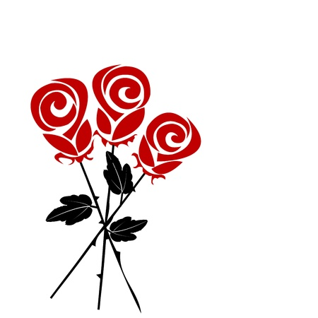 cartoon bouquet: Bouquet of stylized roses