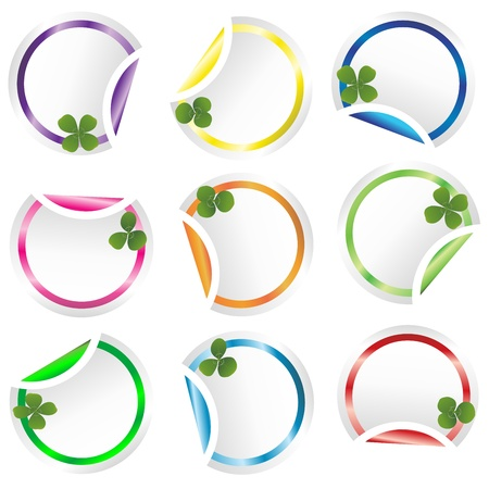 Set of round curled stickers corners with clovers for St. Patricks Day photo