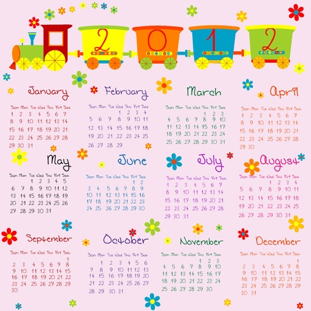 2012 Calendar for kids with cartoon train Stock Photo - 8850369