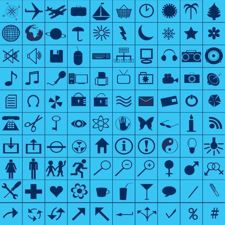 Blue web icons set Stock Photo - 8850364