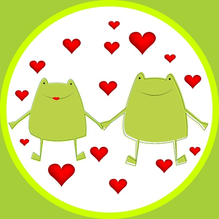 Card with cartoon frogs in love photo