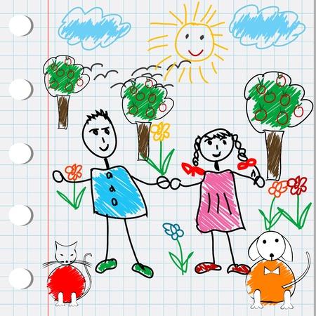 Cartoon design with doodle elements photo