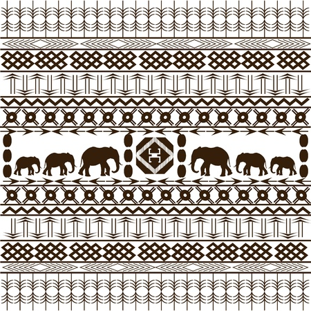 Traditional African pattern with elephants silhouettes Stock Photo - 8850377