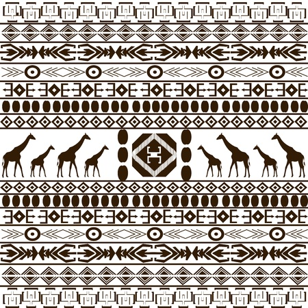 motifs: Traditional African pattern with giraffes silhouettes Stock Photo