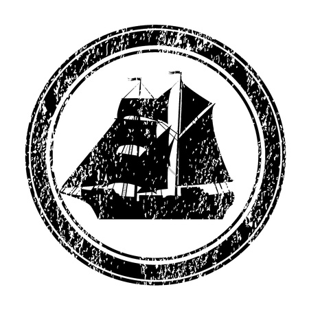 brigantine: Black rubber stamp with brigantine