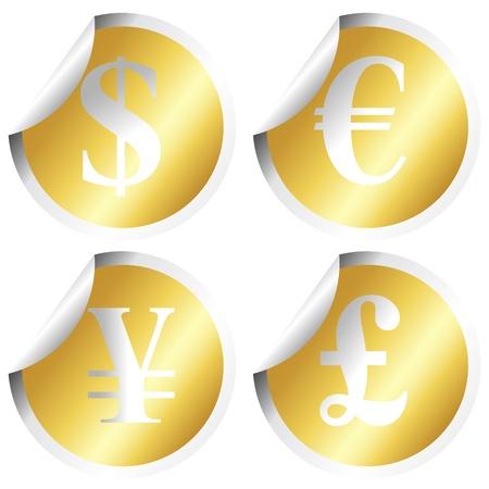 Golden stickers with money symbols Stock Photo - 8990720
