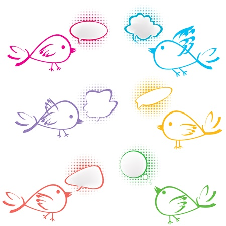 Group of birds with chat bubbles Stock Photo - 8990726