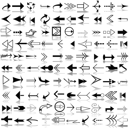 Set of different shapes of arrows