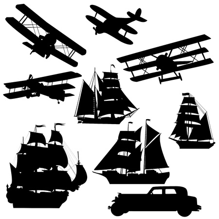 Silhouette of old transportation vehciles photo