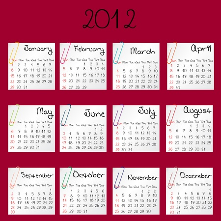 2012 calendar on red background photo