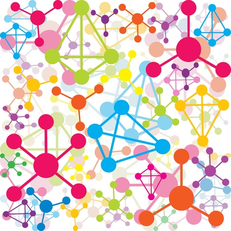 atomic: Background with colored molecules Stock Photo