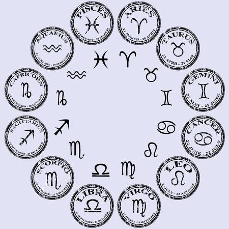 signes du zodiaque: Collection de timbres noirs avec les signes du zodiaque Banque d'images