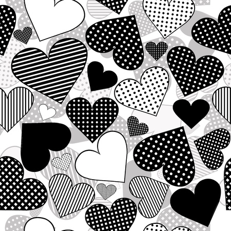 saint valentines: Seamless with black hearts on white background