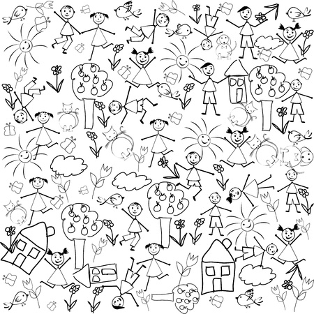 Seamless with doodle characters Stock Photo - 9169906