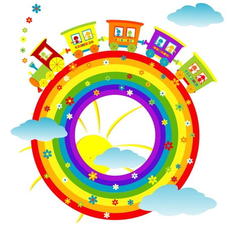train cartoon: Abstract rainbow with toy train