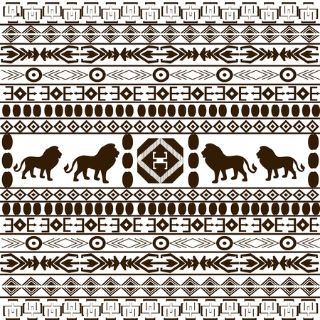 Background with African ethnic motifs and animals silhouettes photo