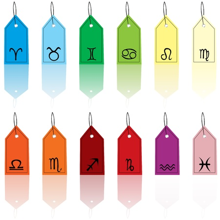 Colored tags with zodiacal signs photo