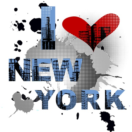 new love: Grunge background with New York text