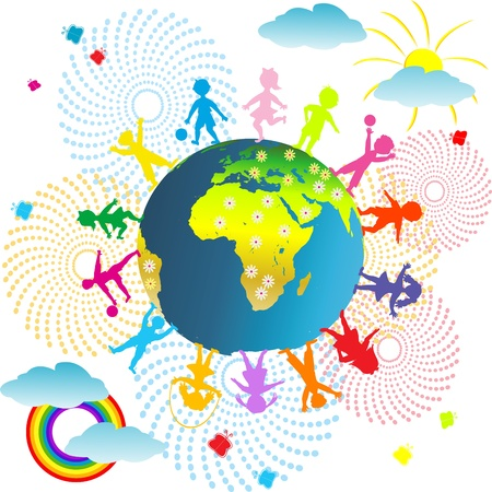 cartoon earth: Kids abstract background with planet Earth and children