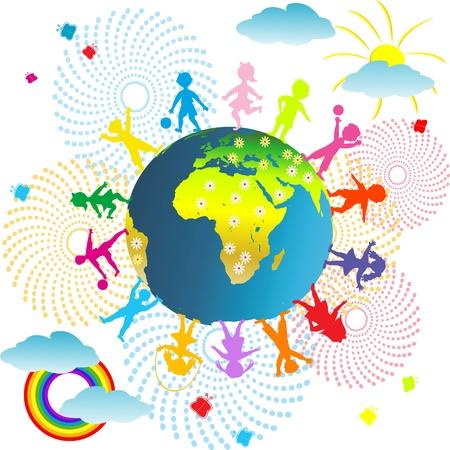 cartoon rainbow: Ni�os abstracci�n de fondo con el planeta tierra y los ni�os
